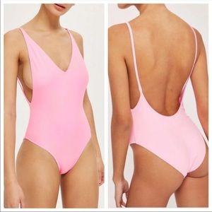 Topshop Pink Pamela Plunge Swimsuit Onepiece US 4
